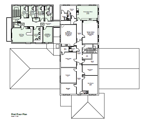 "Alt=""First Floor Plan with the extension shown top left Wing D"""